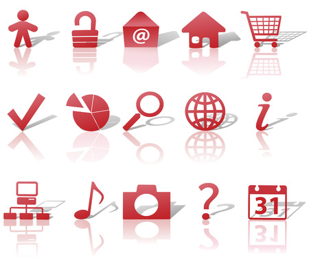 Red Icon Symbol Set: Globe Security Question Email People, etc. On white with shadows & reflections. Vector