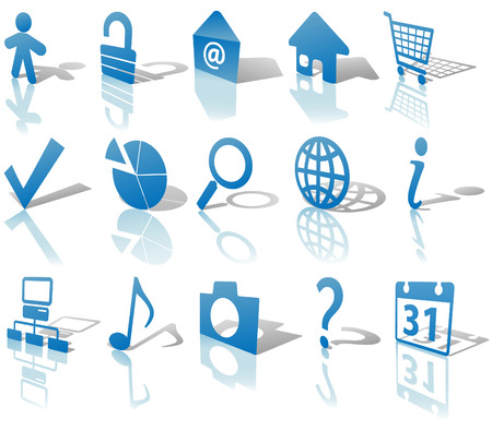 Angled Blue Icon Symbol Set: Globe Security Question Email People, etc. On white with shadows & reflections.  Vector