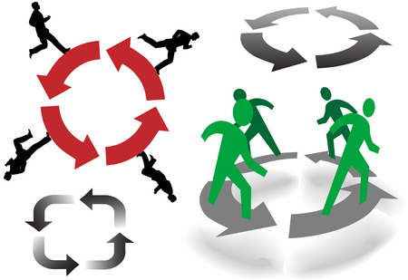 come in: What goes around come around: Business People, Symbol People, and Arrows recycle in circles. Illustration