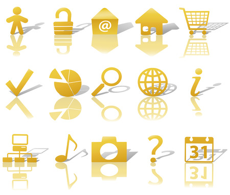 Gold Icon Symbol Set: Globe Security Question Email People, etc. On white with shadows & reflections.