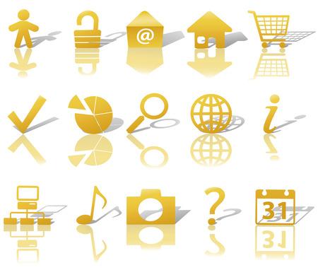 Icono de Oro Juego de símbolos: la pregunta de seguridad de correo electrónico Globo Personas, etc En blanco, con sombras y reflejos. Foto de archivo - 3211663