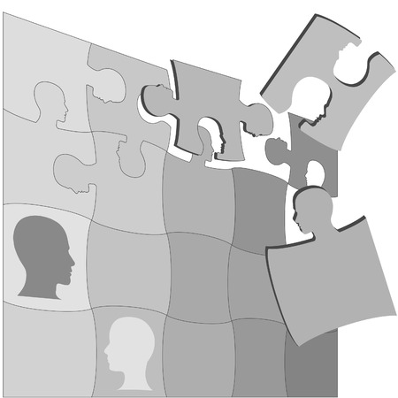 The gray areas of a Puzzling People Faces jigsaw puzzle suggests the complexity of mental health and other human issues. Stock Vector - 3211662
