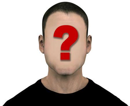 빈 얼굴로 일반 익명의 알 수없는 남성. 3D 그림입니다. 살색으로 물음표를 칠하면 쉽게 물음표를 지울 수 있습니다. 클리핑 패스를 포함합니다. 스톡 콘텐츠