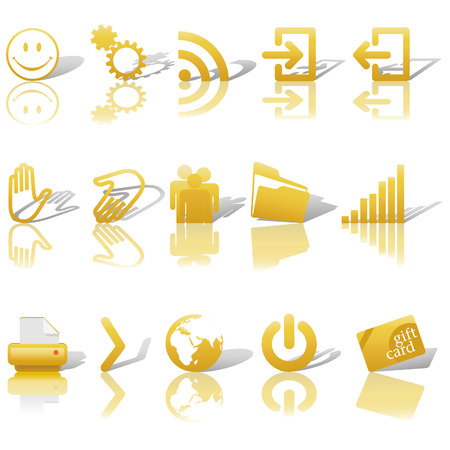 rss: Gold Icon Symbol Set 2: Printer; Gears; Chart; Earth; People; RSS; etc. On white with shadows & reflections.