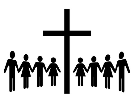 gather: A Group of people hold Hands as they gather around a cross.