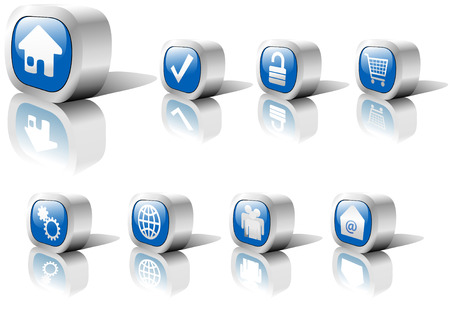 A set of blue web button icons in shiny metal settings, including reflections and shadows. On white. Vector