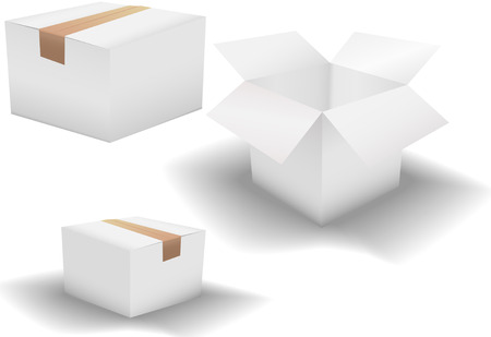 taped: A set of 3 clean white shipping cartons on white: box taped shut; box taped on a shadow; and box with open flaps.