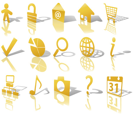Gold Angled Icon Symbol Set: Globe Security Question Email People, etc. On white with shadows & reflections. Vector