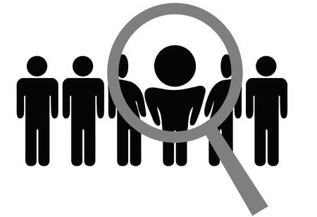 inspeccion: Una lupa selecciona o inspecciona a una persona en una fila de personas: elegir para el empleo, el reconocimiento, promoci�n, alquiler, etc