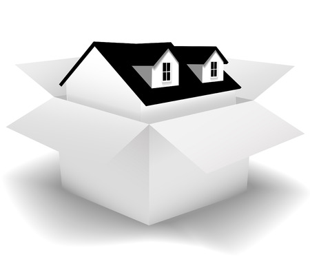 dormer: A New Home for sale or delivery in a clean white House Carton as: icon; a gift; real estate concepts. Use the box as a background and add your label copy. Illustration