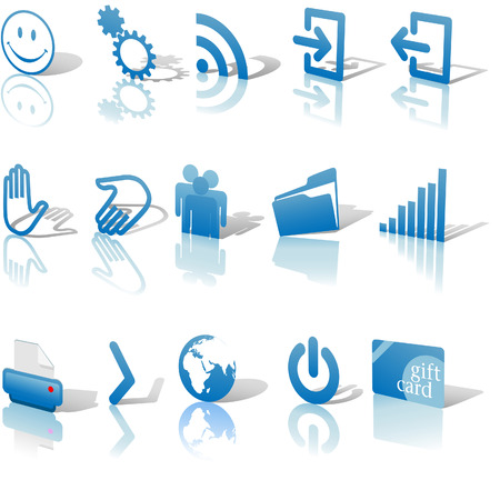 Blue Angled Icon Symbol Set 2: Printer; Gears; Chart; Earth; People; RSS; etc. On white with shadows & reflection Illustration