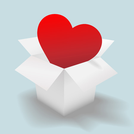 romance: Deliver an open heart in a clean white shipping carton, a valentine or symbol of  and romance. Illustration