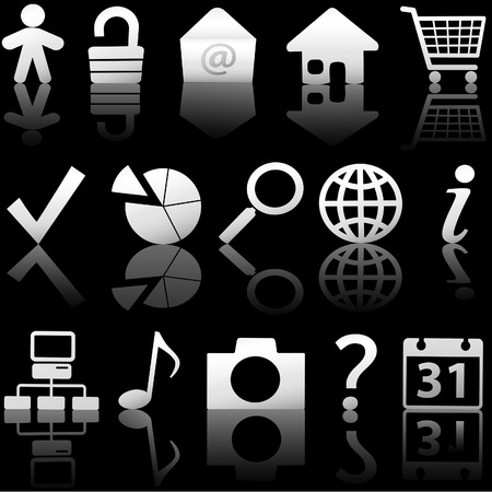 Gray Icon Symbol Set: Globe Security Question Email People, etc. On black with reflections. Vector