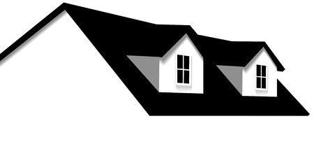 house roof: Clean abstract house design element. Roof with 2 dormer windows for sale, for real estate, construction, architecture, home repair designs. Illustration