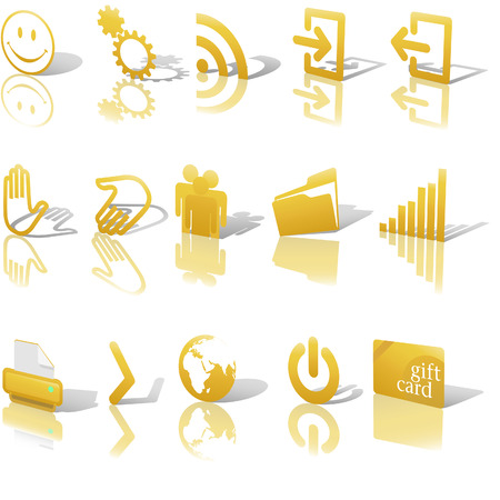 Gold Angled Icon Symbol Set 2: Printer; Gears; Chart; Earth; People; RSS; etc. On white with shadows & reflection Vector