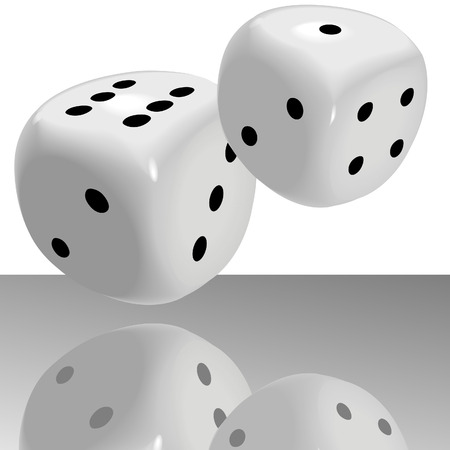 A big fat pair of glossy dice roll lucky seven 7 over a shiny casino floor with reflection. (The dice can be easily edited; however, the reflection has been flattened and cannot be easily edited.) Vector