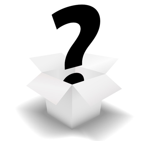 mystery: Mystery Box - deliver a question mark symbol in a clean white open carton.