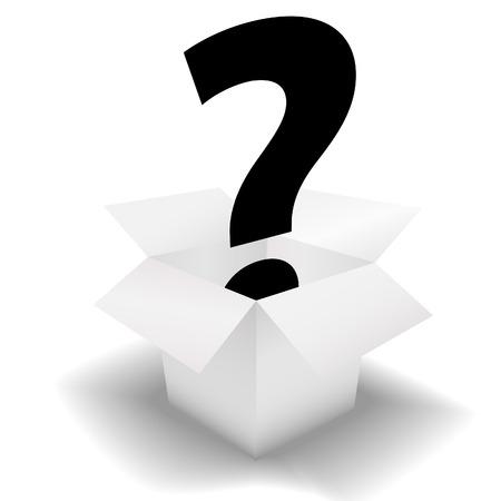 Mystery Box - een vraagteken symbool in een schone witte open doos. Stock Illustratie