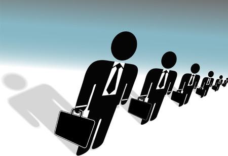 팀 기호 비즈니스 사람들이 정장 & 넥타이, 서류 가방, 인적 자원 당신을 위해 일할 준비가 행합니다. 일러스트