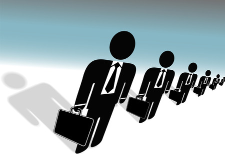 A team symbol business people in a row, in suits & ties, with briefcases, human resources ready to work for you. Vector