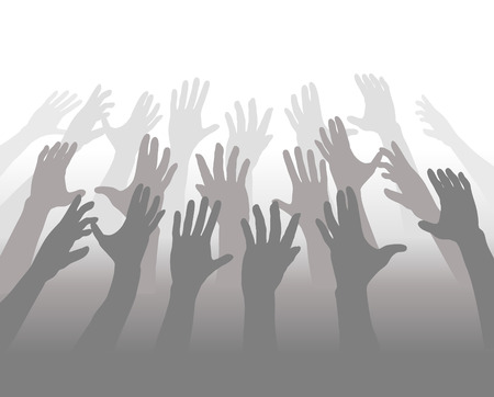 A crowd of people blending in shades of gray reach up their hands for white copyspace. Illustration