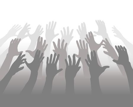 Een menigte van mensen mengen in grijstinten bereiken hun handen voor witte copyspace.