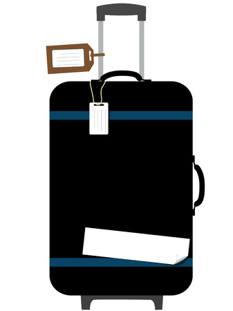 A black suitcase with pull handle up, and copyspace on luggage tags and curl - peel sticker.
