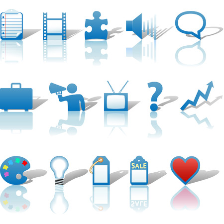 A blue, web Communications or Media business icon set, with reflections and shadows.