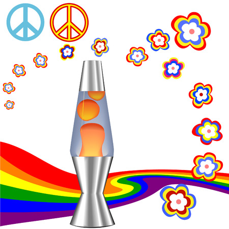 A psychedelic 60's 70's Hippie Kit with red orange lava lamp & retro flower power rainbow elements. Иллюстрация