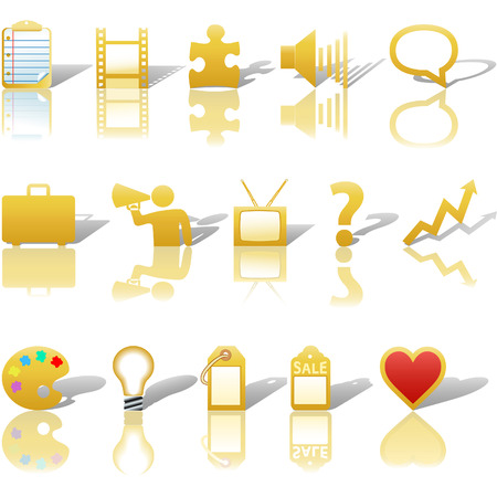 A gold, web Communications or Media business icon set, with reflections and shadows.