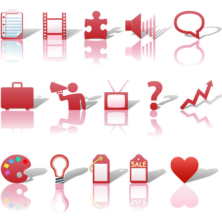 A red web Communications or Media business icon set, with reflections and shadows. Vector