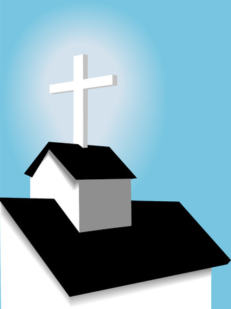 A simple scene of the roof of a christian country church with steeple and cross against a blue sky. Vector