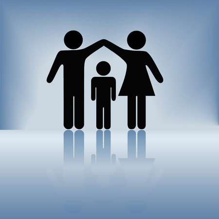 protect family: A mother and father hold up arms over their child to form a roof of security, protection, and safety on a blue background with reflection.