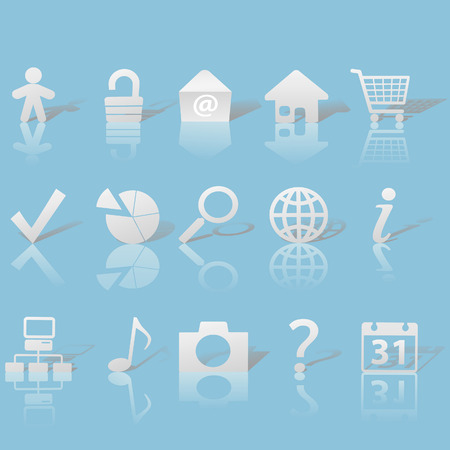 Gray Icon Symbol Set: Globe Security Question Email People, etc. On blue background with shadows & reflections. Vector