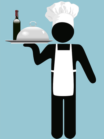 A restaurant chef, cook, waiter, server holds a tray with a covered entre and bottle of red wine.