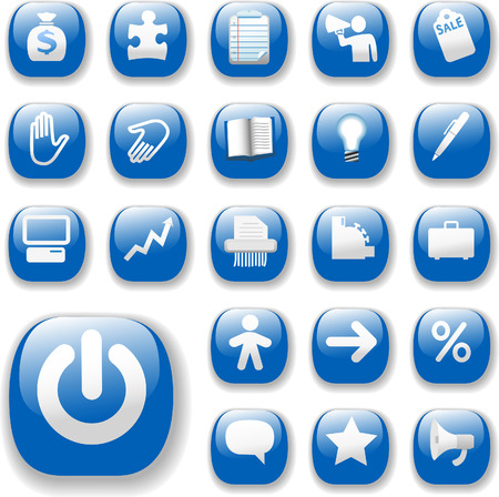 Shiny Blue Control Button Icons, internet website navigation symbols: money bag, puzzle piece, megaphone, people, bullhorn, price tag, power on, briefcase... Illustration