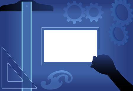 귀하의 그래픽 계획, 디자인, copyspace에 발명 엔지니어 T- 스퀘어와 삼각형 도구 CAD 드로잉 보드.