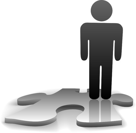 A symbol person stands on the jigsaw puzzle piece needed to complete the solution to a problem or answer to a question. Stock Vector - 3392049