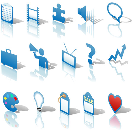 A blue, web Communications or Media  icon set, angled with reflections and shadows. Website symbols. Vector
