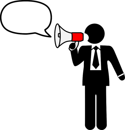 bullhorn: Big mouth business symbol man to broadcast a talk, ad, announcement, communication in a bullhorn & speech balloon. Illustration