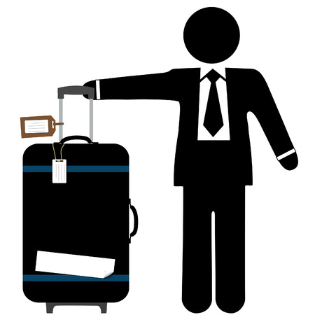 handles: A business man traveler with a black suitcase, pull handle up, and copyspace on luggage tags and sticker tape.