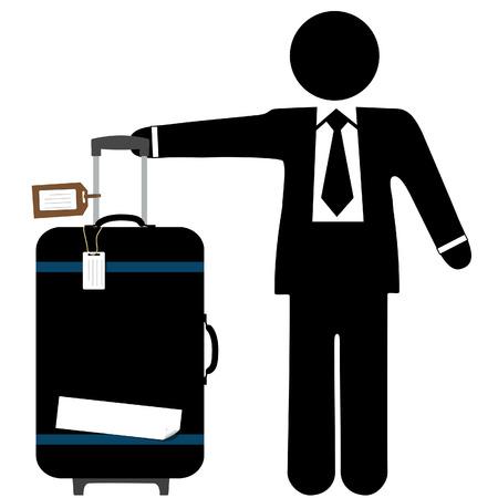 empresario: Un hombre de negocios de viajero con un malet�n negro, tira de manejar, y el equipaje de mano copyspace etiquetas y cinta adhesivo.