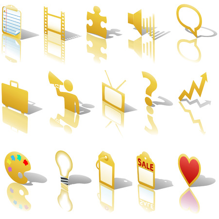 A gold web Communications or Media  icon set, angled with reflections and shadows. Website symbols. Vector