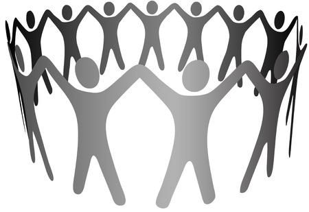 Symbol People 그룹은 원형, 고리, 팀웍 체인, 협력, 커뮤니티 등을 형성하기 위해 무기를 들고 있습니다.