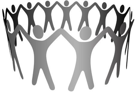 alianza: Un grupo de gente S�mbolo celebrar las armas para formar un c�rculo, anillo, cadena de trabajo en equipo, cooperaci�n, comunidad, etc  Vectores