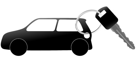 car key: An illustration of a set of auto symbol and car key on a shiny key ring.