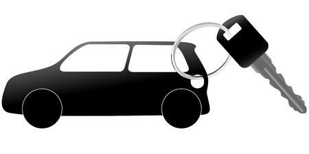 Un ejemplo de un conjunto de automóviles y coches de símbolo clave en un anillo brillante. Ilustración de vector