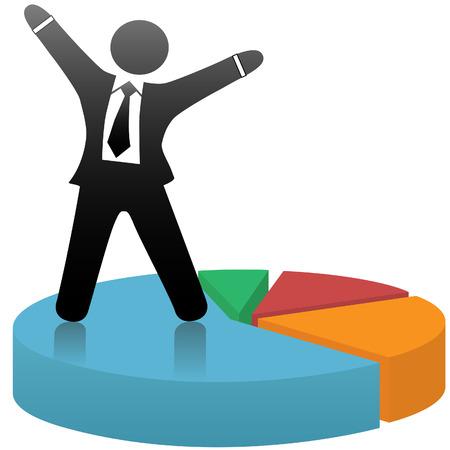 Ein Symbol Geschäftsmann feiert eine finanzielle Marktanteil Erfolg auf einem bunten Tortendiagramm.
