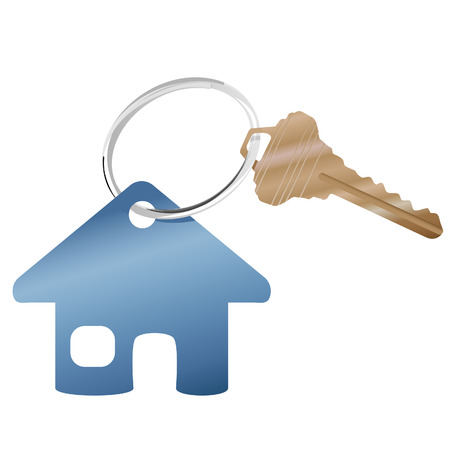 A shiny key ring with a brass house key and real estate or website home symbol.