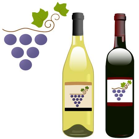 Een druif wijngaard symbool op het etiket van rood-wit rhone & bordeaux vorm wijnflessen. Stock Illustratie